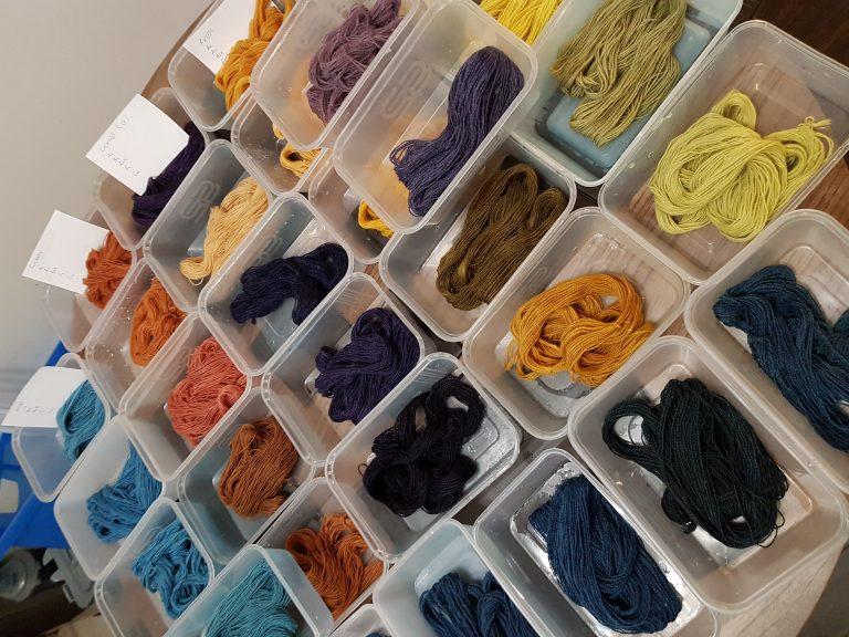 Natural dyeing samples at a workshop with Debbie Tomkies of DT Craft Design