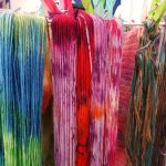 Debbie Tomkies teaches hand-dyeing yarn and fabric at the Association of guilds of weavers, spinners and dyers summer school at askham bryan college 2019