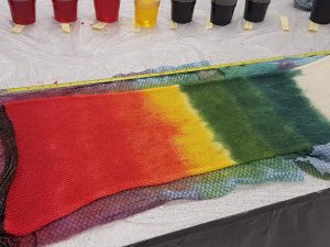 DT Craft & Design - hand-dyed blank canvas sock blank in a rainbow pattern by a studentfrom Debbie Tomkies' Dyeing Workshop