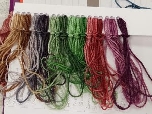 Samples of yarns dyed with DT Craft & Design procion dyes