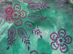 blockprintingon fabric with procion dyes