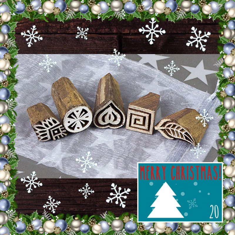 DT Craft and Design 20 days of Christmas Countdown - handmade wooden printing blocks set