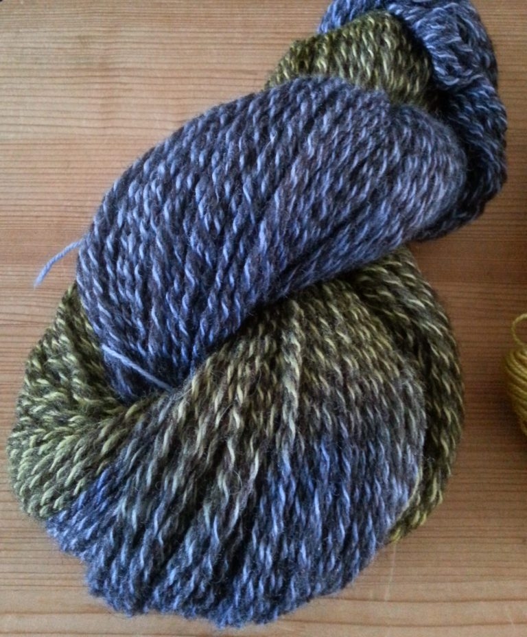 natural-colour marl yarn overdyed with procion dyes