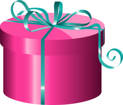 DT Craft and Design gift voucher - pink box with blue ribbon